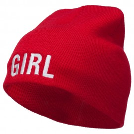 Girl Embroidered Short Beanie