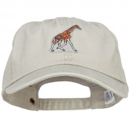 Giraffe Wild Animal Patched Washed Cotton Twill Cap
