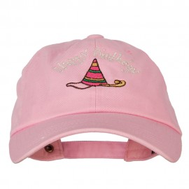 Glitter Happy Birthday with Hat Embroidered Unstructured Washed Cap