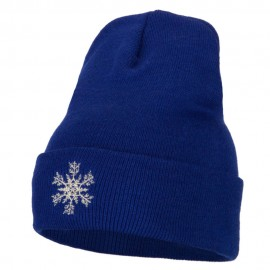 Glitter Snowflake Embroidered Knitted Long Beanie