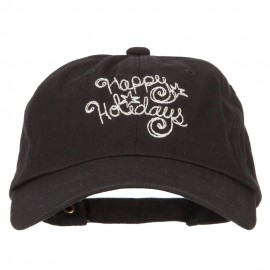 Glitter Happy Holiday Embroidered Unstructured Washed Cap
