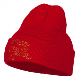 Glitter Merry Christmas Embroidered Long Knitted Beanie