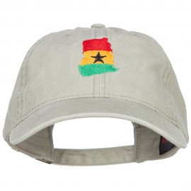 Ghana Map Flag Embroidered Washed Cap
