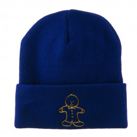 Gingerbread Man Embroidered Long Beanie - Royal