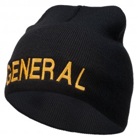 General Embroidered Short Beanie - Black