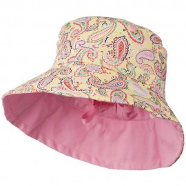 Girl's Paisley Print Bucket Hat - Yellow