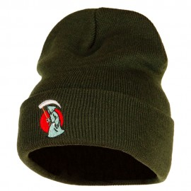 Halloween Grim Reaper Embroidered Long Knitted Beanie