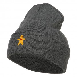 Gingerbread Man Embroidered Long Knitted Beanie