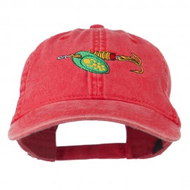 Fishing Green Spinner Embroidered Washed Cap