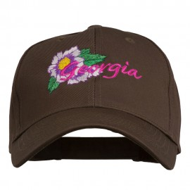USA State Georgia Flower Embroidered Organic Cotton Cap