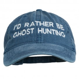 I'd Rather Be Ghost Hunting Embroidered Washed Cap - Navy