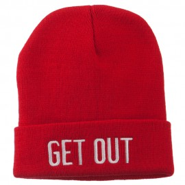 Get Out Embroidered Long Knit Beanie