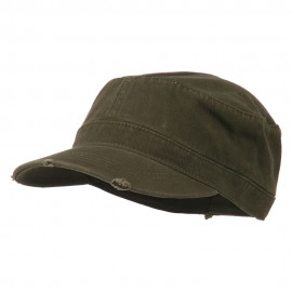 Garment Washed Distressed Military Cap