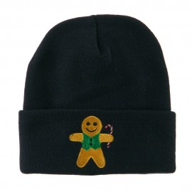 Gingerbread Man with Candy Cane Embroidered Beanie - Navy