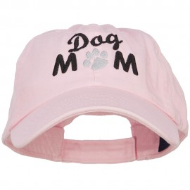 Dog Mom Words with Paw Embroidered Cotton Cap