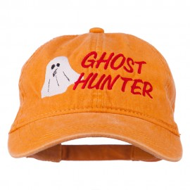 Halloween Ghost Hunter Embroidered Washed Dyed Cap