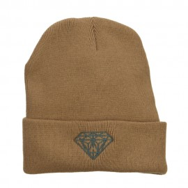 Grey Diamond Embroidered Cuffed Long Beanie