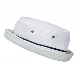 Big Size Roll Up Bucket Hat - White With Navy
