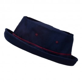 Big Size Roll Up Bucket Hat - Navy with Wine