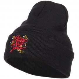 Happy New Year Embroidered Long Knitted Beanie