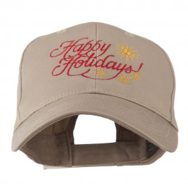 Christmas Happy Holidays Snow Flakes Embroidered Cap