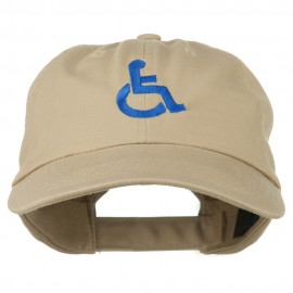 Handicapped Logo Embroidered Pigment Dyed Cotton Cap - Khaki