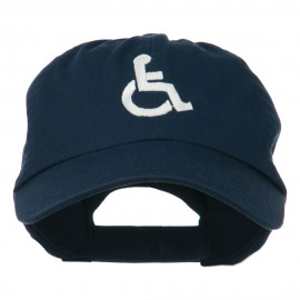 Handicapped Logo Embroidered Pigment Dyed Cotton Cap - Navy