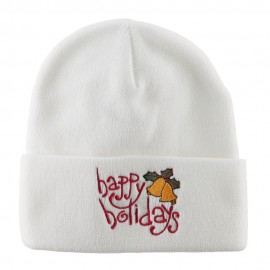 Happy Holidays with Bells Embroidered Long Beanie