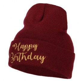 Glitter Happy Birthday Embroidered Knitted Long Beanie