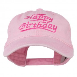 Happy Birthday Embroidered Washed Cap - Pink