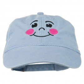 Happy Face Embroidered Washed Dyed Cap