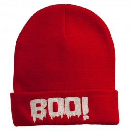 Halloween Boo Sign Embroidered Cuff Beanie