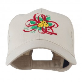 Christmas Holly with Bells Embroidered Cap - Stone