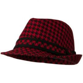 Houndstooth Checker Fedora Hat with Band