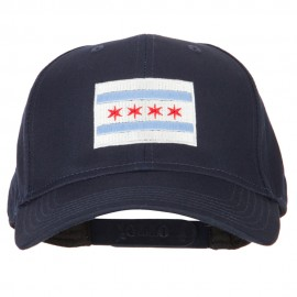Chicago Flag Embroidered Solid Cotton Pro Style Cap