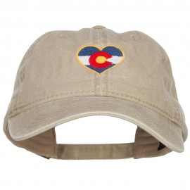 Heart Colorado Flag Embroidered Washed Cap