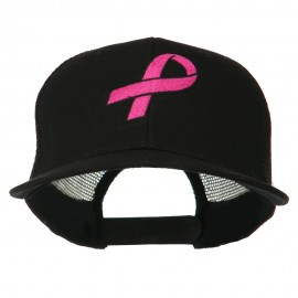 Hot Pink Ribbon Breast Cancer Embroidered Mesh Back Cap - Black