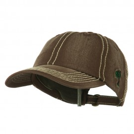 Heavy Washed Cap with Thick Stitch - Brown