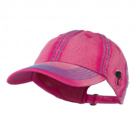 Heavy Washed Cap with Thick Stitch - Fuchsia