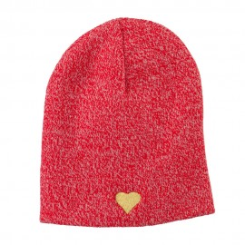 Heart Embroidered Short Beanie