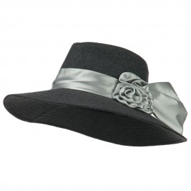 Wide Brim Dressy Hat with Flower Decoration - Grey