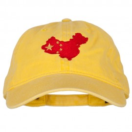 China Flag Map Embroidered Washed Cotton Twill Cap