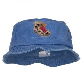 Hiking Shoes Patched Washed Bucket Hat - Royal