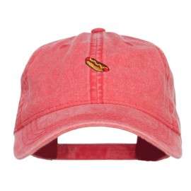 Mini Hot Dog Embroidered Washed Cap - Red