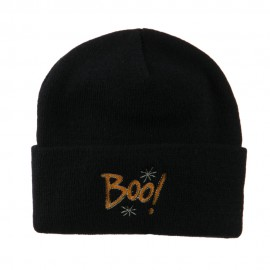 Happy Halloween Boo Embroidered Long Beanie