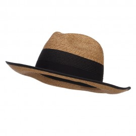 Wide Brim Paper Braid Panama Hat - Black