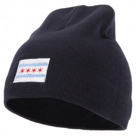 Chicago City Flag Embroidered 8 Inch Knitted Short Beanie