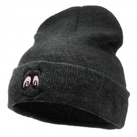 High Smile Eyes Embroidered 12 Inch Long Kintted Beanie