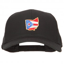 Ohio State Map Flag Embroidered Solid Cotton Pro Cap