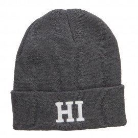 HI Hawaii State Embroidered Cuff Beanie